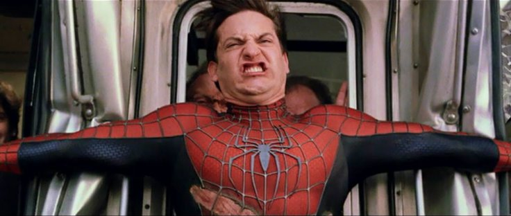 Tobey Maguire taking a poo on the set of Spider-Man 2. He never broke character, not even to use the bathroom.