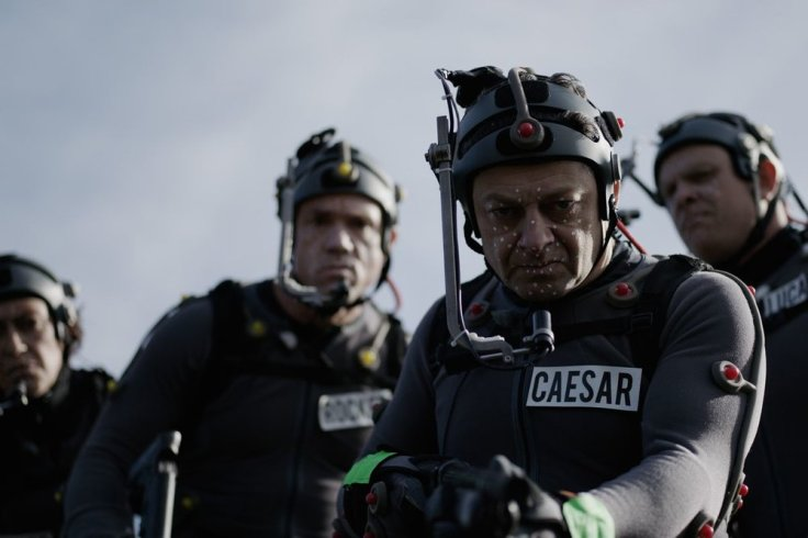 A shot of Andy Serkis (front), Karin Konoval (back), Terry Notary (left), and Michael Adamthwaite (right) while shooting the film.