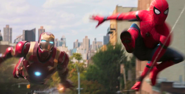 Spider-Man (right) being chased by Vulture (left)... huh? That's Iron-Man?? What the hell is he doing in this movie?????
